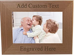 Personalized Add Your Custom Text Hanging/Tabletop Wall Natural Alder Wood Picture Photo Frame Customizable (8x10-inch Horizontal)