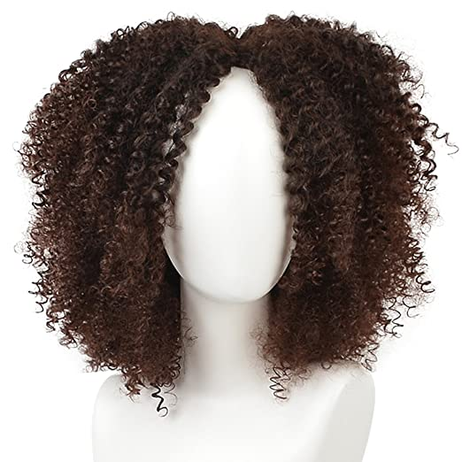 Amazon.com: KRSI Short Afro Kinky Curly Hair Wigs for Black African American Women Natural Brown Costume Synthetic Wigs that Look Real: Beauty