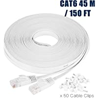 Ethernet Cable, 45M / 150ft Cat6 White Flat Network Internet Cord with Cable Clips - Ikerall RJ45 Connector High Speed Flat Internet Cable 45 Meters (Support Cat5e cat5)