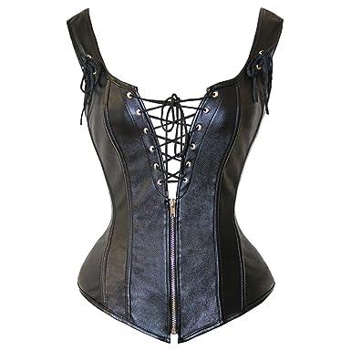 c9e5419b5dd TOPMELON Women Sexy Lace Up Boned Overbust Corset Black Bustier Waist  Cincher Bodyshaper at Amazon Women s Clothing store