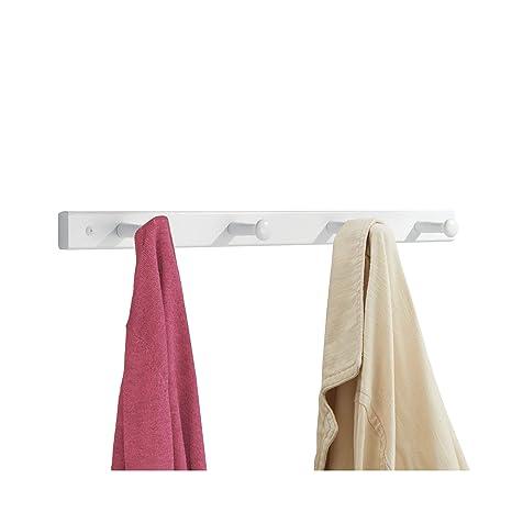 InterDesign Basic Perchero de pared con 4 ganchos para colgar ropa y accesorios, perchero de madera para abrigos, bolsos o toallas, blanco