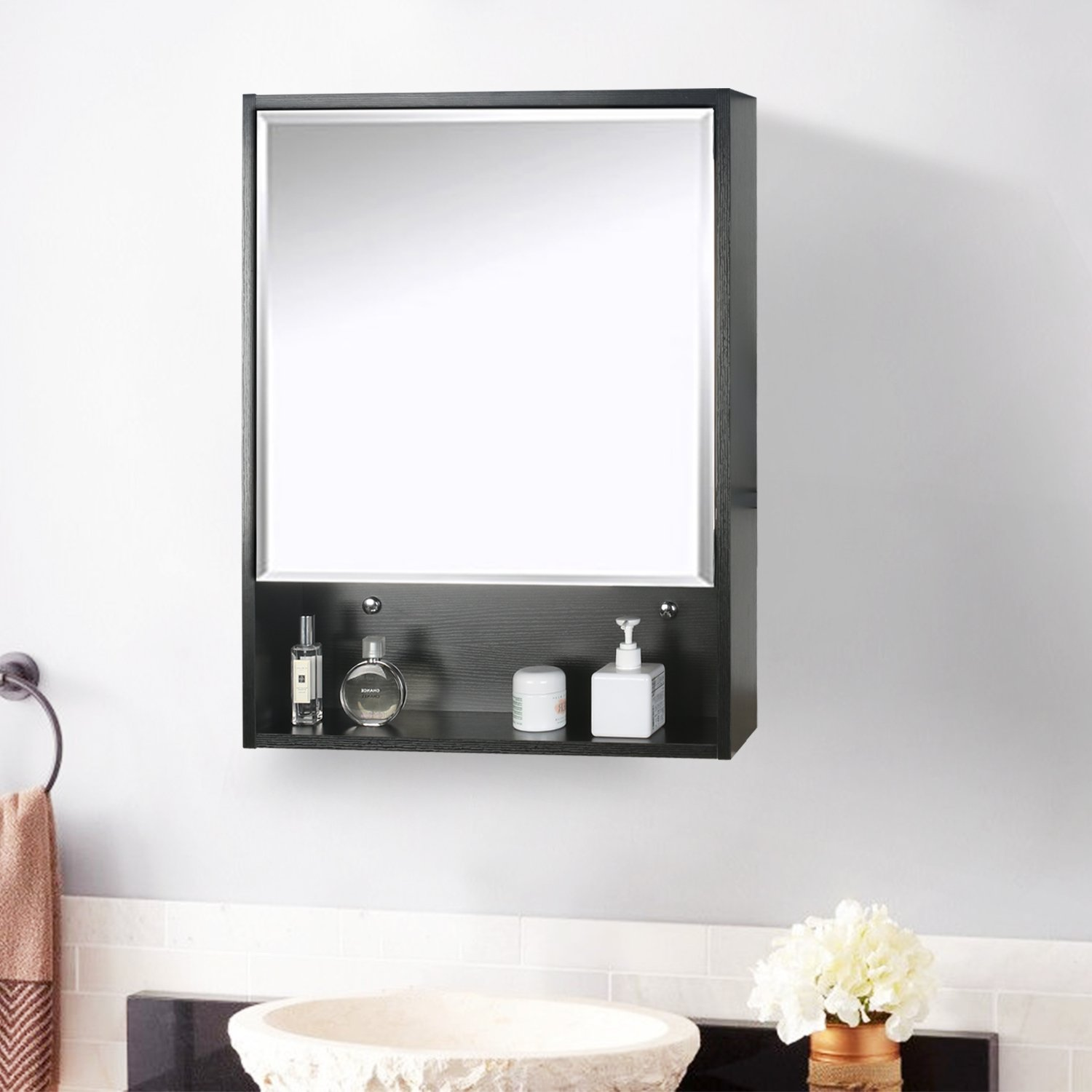 Eclife 22'' x 28'' Large Storage Bathroom Medicine Cabinet Organizer Mirror Storage Wood Adjustable Wall Mounted Mirror Cabinet Black C01