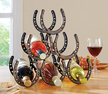 Amazoncom Western Horseshoe Wine Bottle Holder Table Top Rack