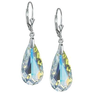 b7e5db7aa Amazon.com: Clear Aurora Borealis (AB) Swarovski Elements Crystal Sterling  Silver Leverback Dangle Earrings: Jewelry