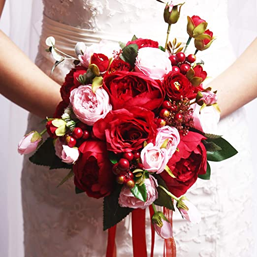 Amazon Com Cjjc Bridal Bouquet Hand Made Artificial Silk Peony