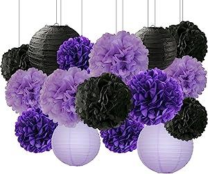 HappyField Bridal Shower Decorations Halloween Decorations 16 Pcs Black Lavender Purple 10inch 8inch Tissue Paper Pom Poms Black Purple Party Decorations Purple 2020 Graduation Party Supplies