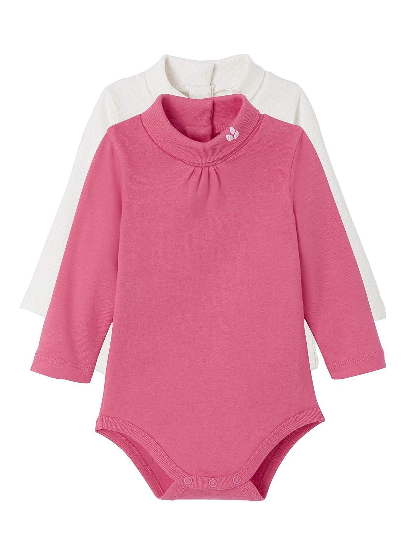 VERTBAUDET Lote de 2 bodies de cuello alto bebé Blanco lunares rosa/fucsia 24M-86CM
