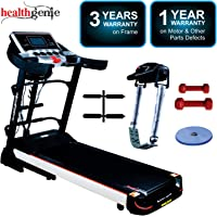Healthgenie 4612A, 5in1 Motorized Treadmill,  2.0 HP with Massager, Sit-ups, Tummy Twister & Dumbbells, Auto Inclination& Auto Lubrication (Free Installation Assistance)