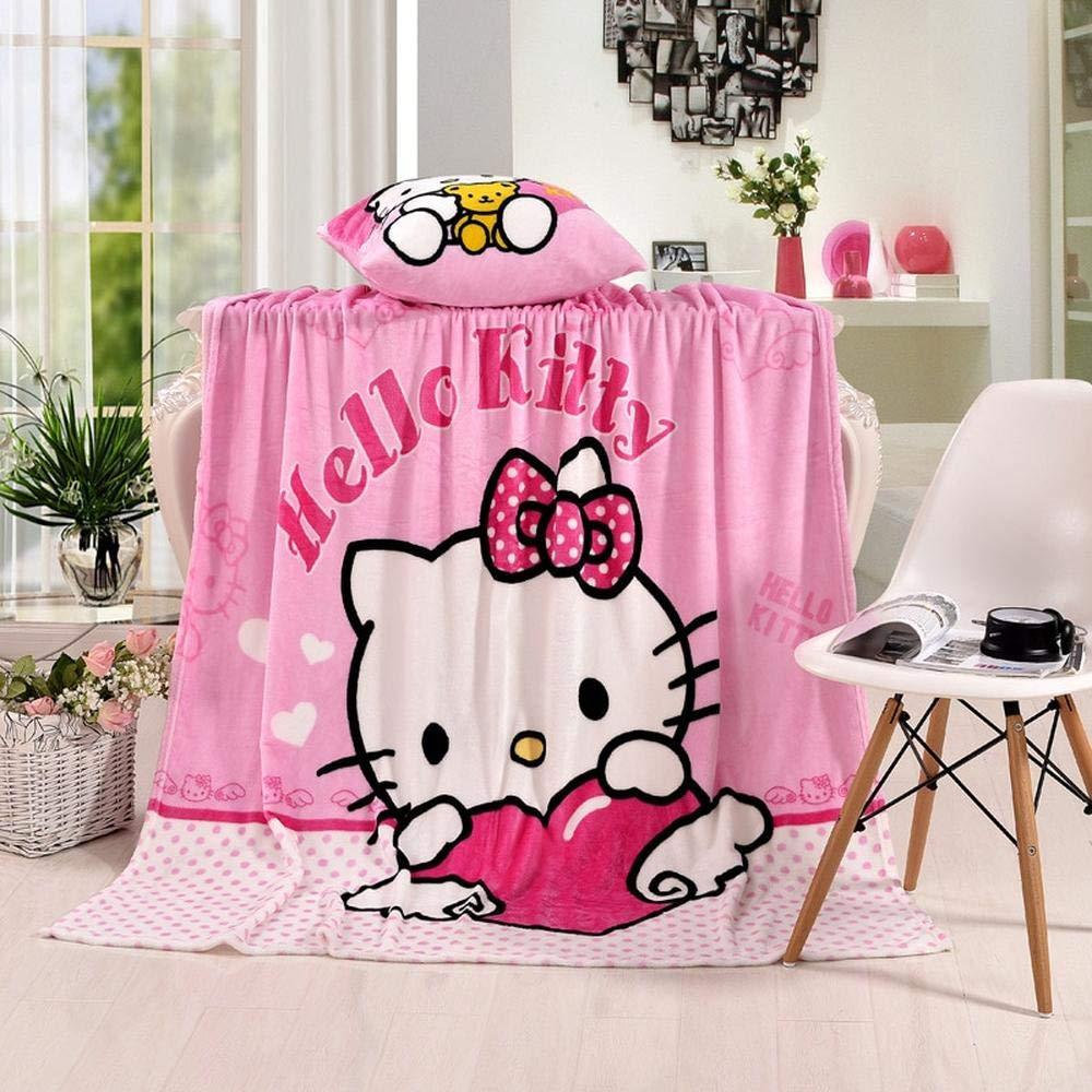 KT-1 Twin Hello Kitty Plush Flannel Blanket for Kids