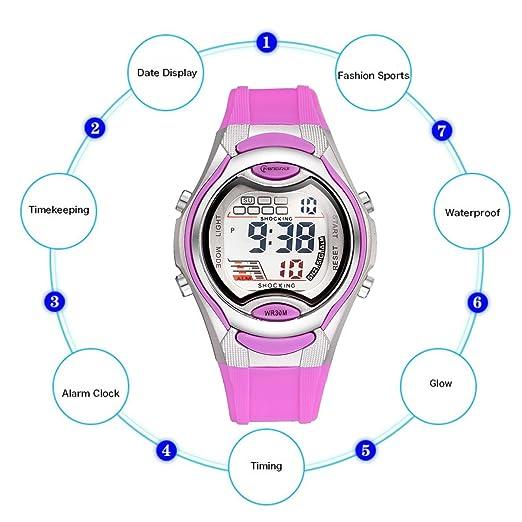 MINGRUI Reloj Digital de Cuarzo con Alarma Cronométro Luz 30M Waterproof Deportivo Escolar Watch para Niño Niña Chico Chica Estudiantes - Púrpura: ...