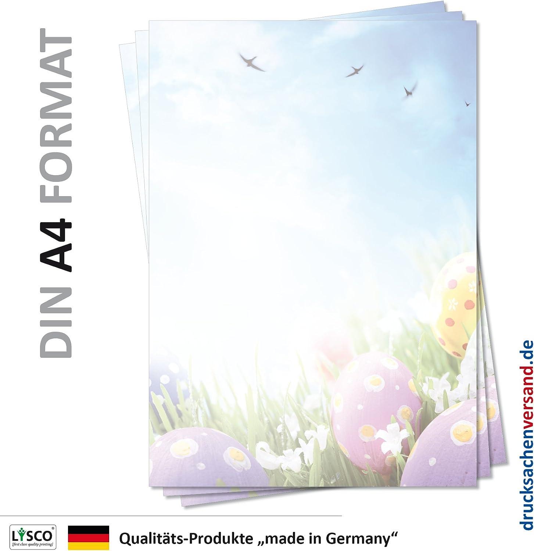 Briefpapier Osterwiese mit Ostereier Motiv Briefpapier Ostern-5090, DIN A4, 25 Blatt blauer Himmel mit V/ögeln /über gr/üner Wiese mit lila gelben Ostereiern und Narzissen