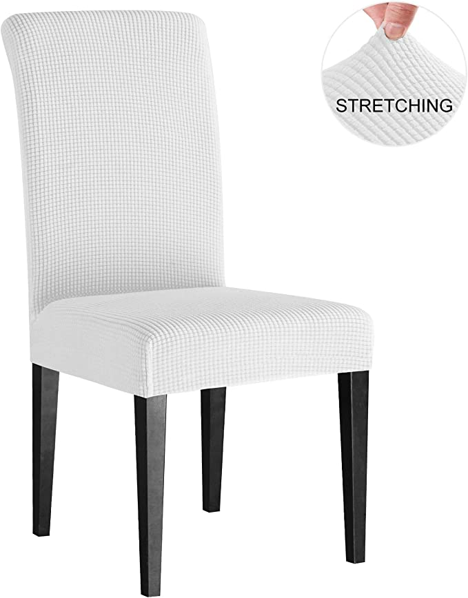 Subrtex Super Fit Stretch Chair Slipcovers for Dining Room, Soft Removable Jacquard Fabric Chair Covers(2 Pieces, Off-White Checks)