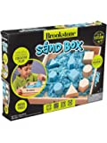 Brookstone Play Sand Kit for Kids with Blue Sand, Wood Sand Box Tray and Molds