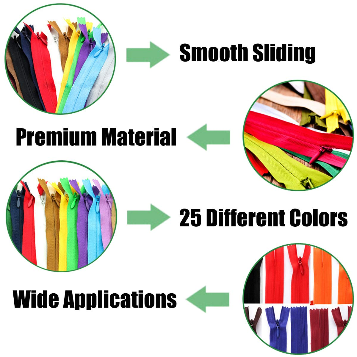 Closed End for Tailor Sewing Crafts 25 Colors Nylon Zippers 14inch in 25 Colors LONG7INES 50 Pieces Nylon Coil Zippers Bulk