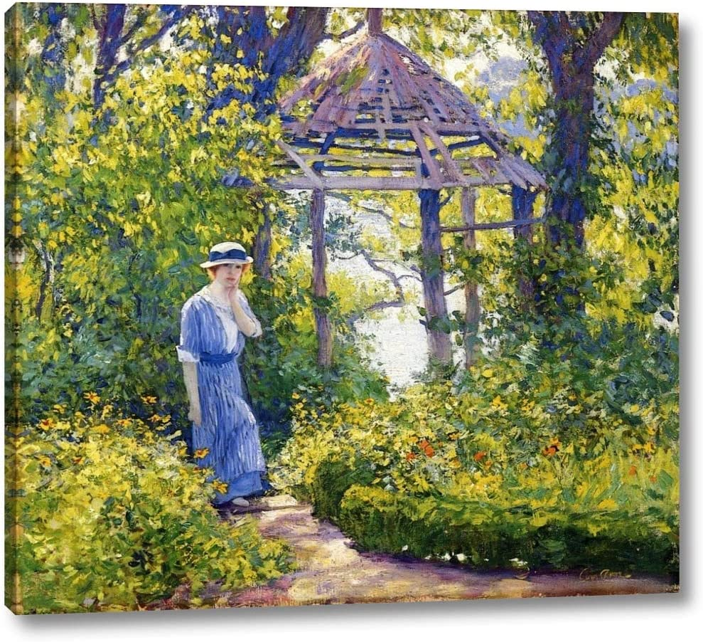 """Girl in a Wickford Garden, New England by Guy Orlando Rose - 21"""" x 24"""" Gallery Wrap Canvas Art Print - Ready to Hang"""