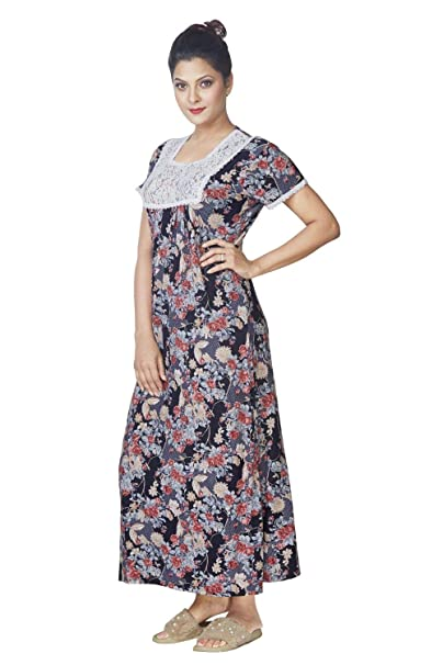 a50806fde2a IMJI Nightwear Blue Floral Printed Long Nighty with Pocket for Women ...