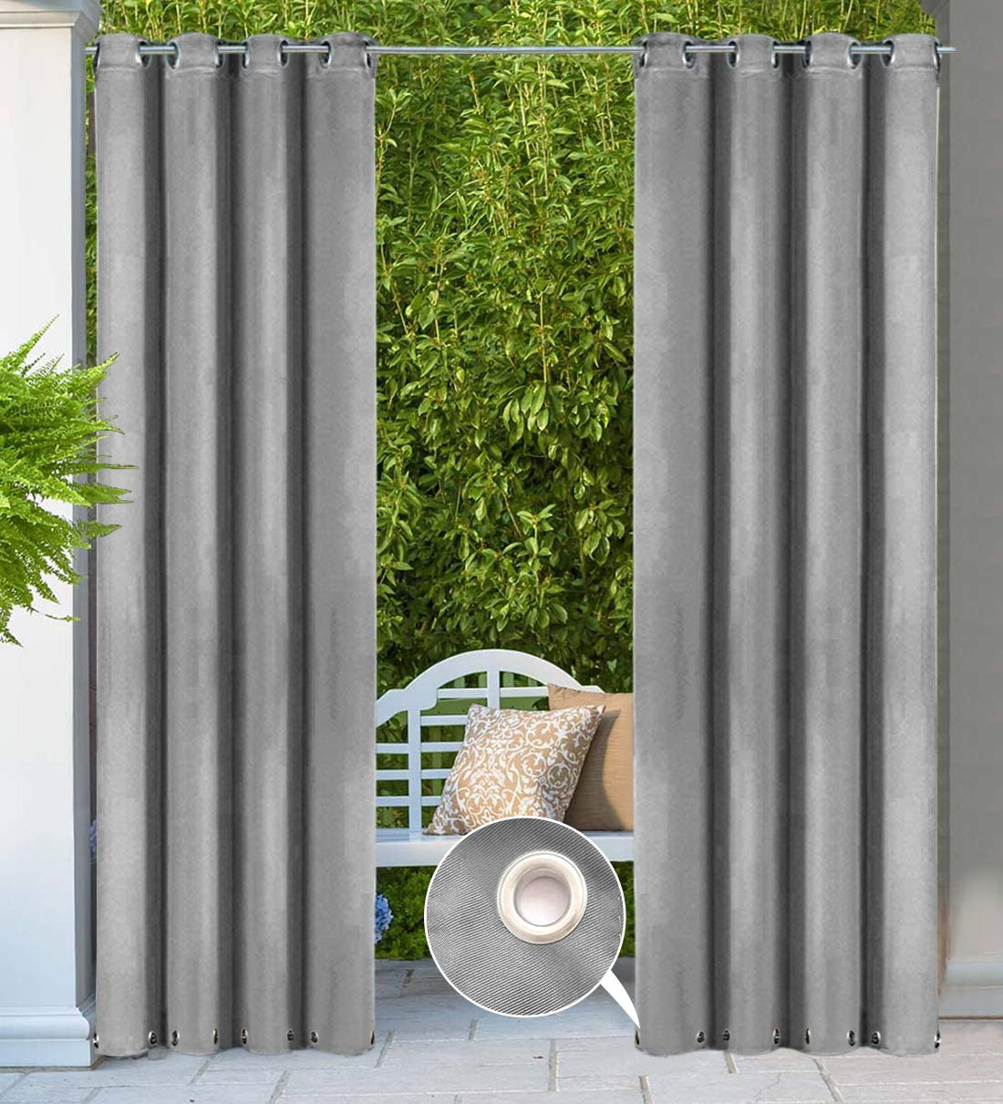 HGMart Outdoor Curtain Panel for Porch Patio,Top Tab Window Curtain with UV Ray Protected and Waterproof ,Easy to Hang On Light Green, 50 84