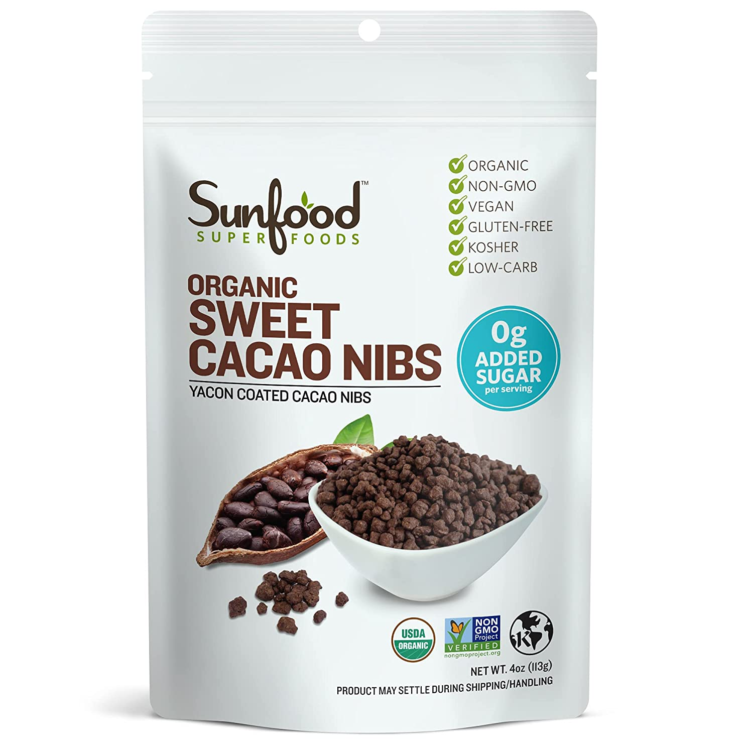 Sunfood Superfoods Sweet Cacao Nibs | All Natural Ingredients | Ultra-Clean (No Chemicals, Artificial Flavor, Additives or Fillers) | Organic, Non-GMO, Vegan, Gluten Free | 4 oz Bag