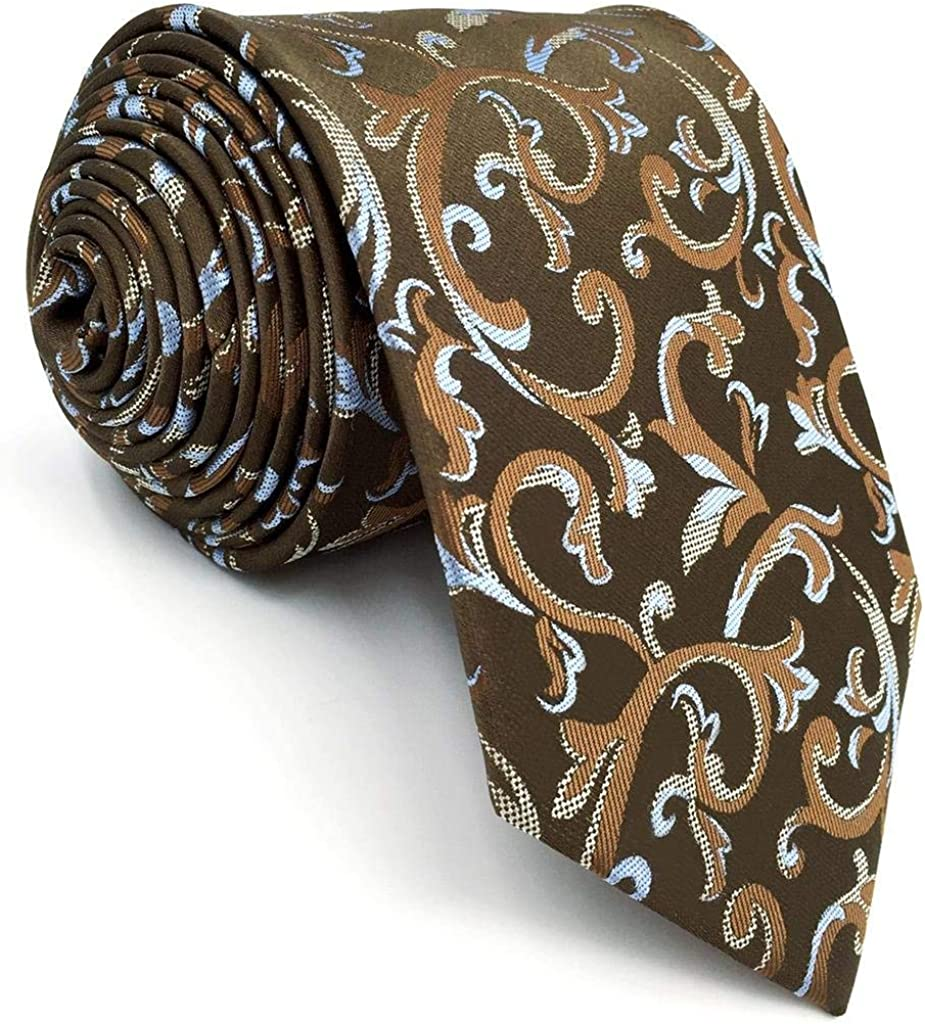 Shlax/&Wing Solid Color Brown Chocolate Mens Ties Necktie Business Classic XL Skinny