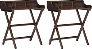 Linon Home Decor Products Linon Walnut Folding Griffin Desk (Pack of 2)