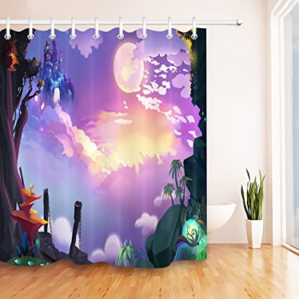 The Fantasy World Waterproof Fabric Home Decor Shower Curtain Bathroom Mat