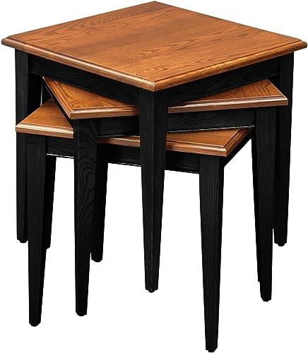 Leick Stacking Table Set, Black and Medium Oak