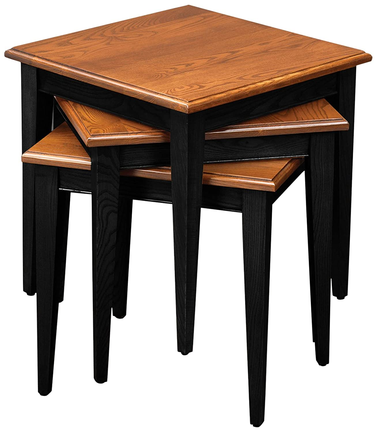 Leick Stacking Table Set, Black and Medium Oak Leick Furniture 9004-SL