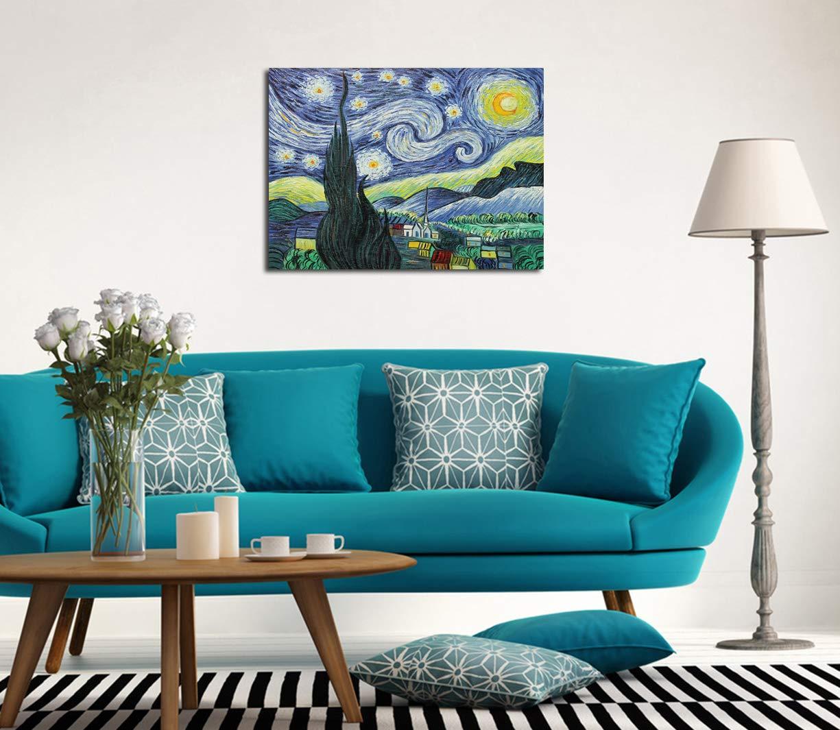 Pittura a olio su tela gi/à incorniciata Tela pronta da appendere al muro 50x60cm Fokenzary riproduzione del classico cielo stellato di Vincent Van Gogh
