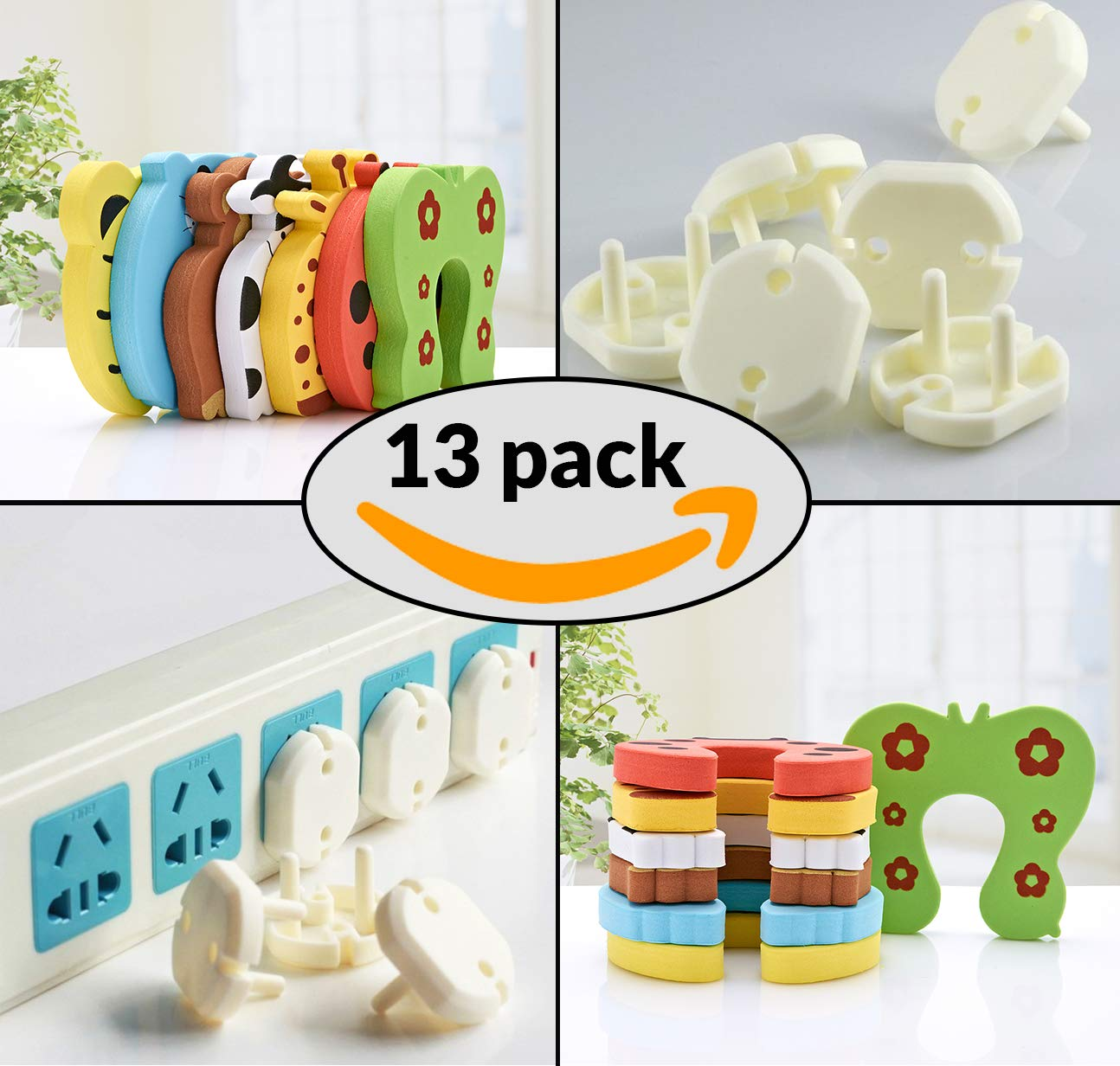 Devnaz 7 pcs Animal Door Stopper and 6pcs Electric Socket Cover Baby Proofing Home Kit - Children Colorful Cartoon Animal Foam Door Stopper with Secure Childproof Socket Covers for Home & Office