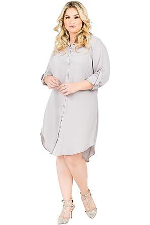 dde575497ae Standards & Practices Plus Size Modern Women's Chiffon Long Sleeve Shirt Dress  Size 1X Grey