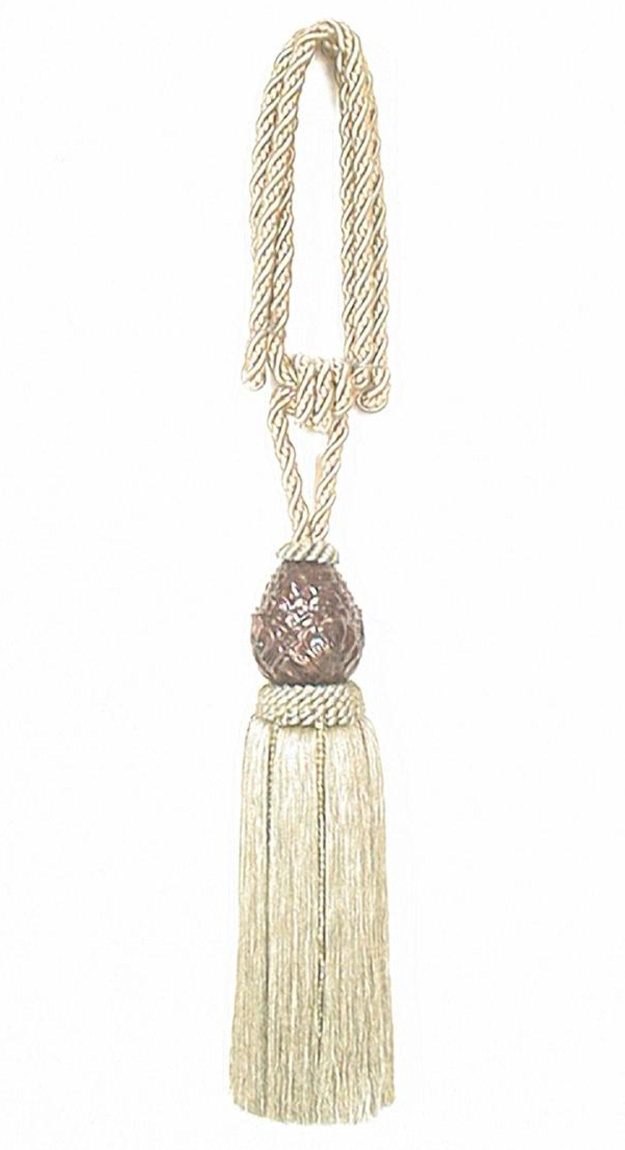 India House 76408 Pineapple Tieback with 12-Inch Single Tassel and 36-Inch Cord, Sage
