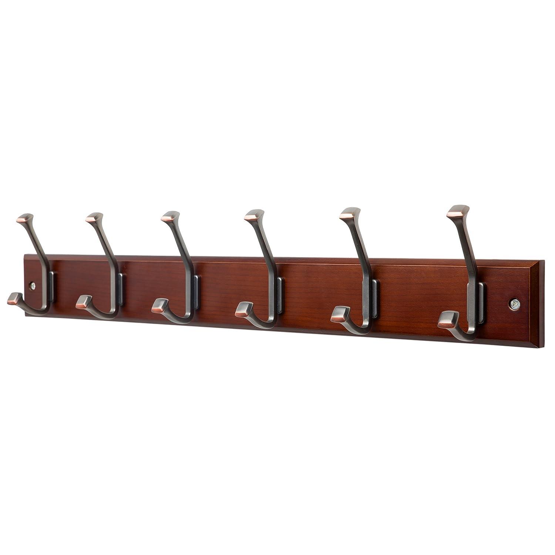 Amazoncom Finnhomy Wooden Coat Hooks Wall Hooks 6 Dual Hooks