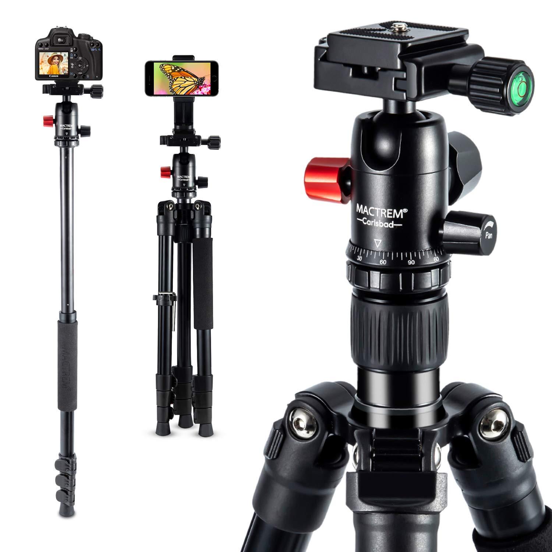 MACTREM 2019 Camera Tripod - 62'' Lightweight Travel Tripod w/ [Stable Plus] Tech, 360 Ball Head & Phone Holder, Heavy Duty Aluminum DSLR Camera Tripod for Canon Nikon Studio Camcorder, Classic Black