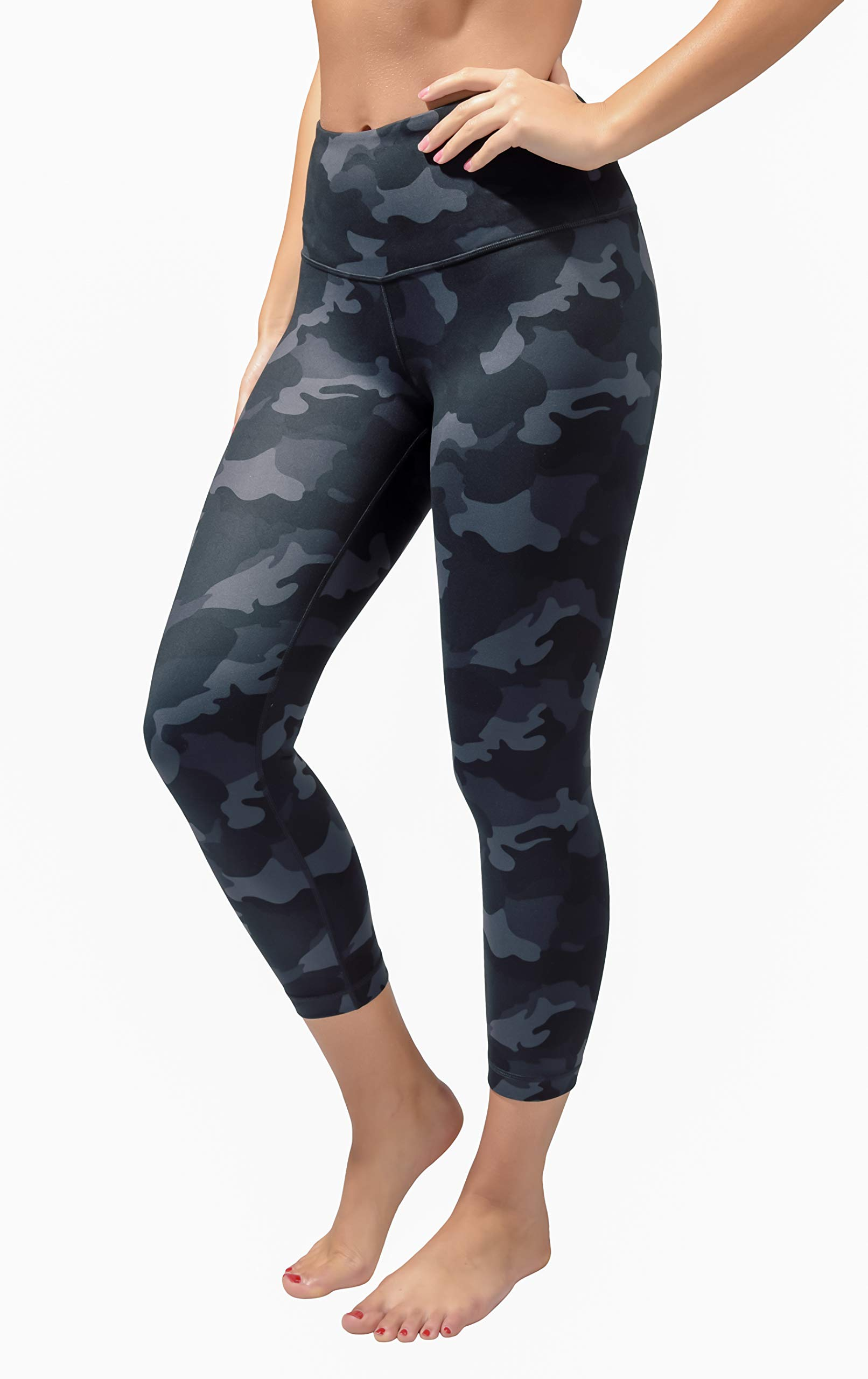 Yogalicious High Waist Ultra Soft Lightweight Capris - High Rise Yoga Pants - Black Camo - Small by Yogalicious