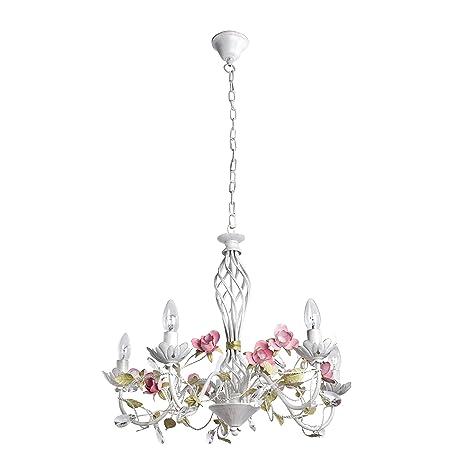 Lámpara colgante Bombillas transparentes Florentina clásico chic estilo de metal Ø60 cm de 5 focos No Incluidas. E14 5 x 40 W 230 V
