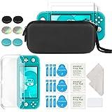 Nintendo Switch Lite ケース 4点セット ケテン・Keten 「専用ケース 透明TPUカバー ガラスフィルム2枚 親指キャップ6個」ニンテンドー アクセサリー セット
