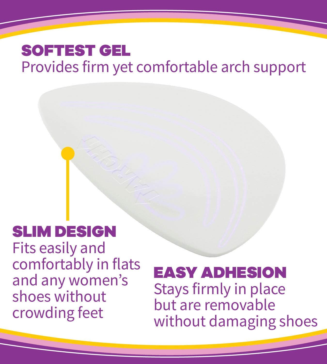 Weak Dr Scholls Hidden Arch Supports for Flats //// Discreet Supports with Soft Gel Comfortably Support Arches to Prevent Arch Pain Often Associated with Flat One Size Fallen or High Arches