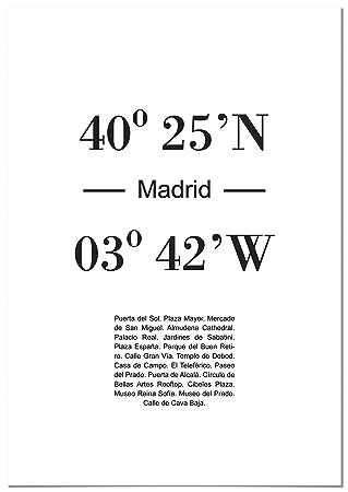 Panorama® Póster Coordenadas Ciudad de Madrid 21 x 30 cm ...