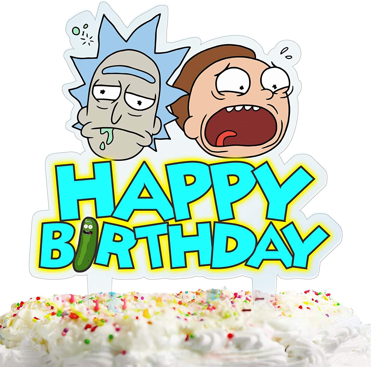 Rick and Morty Cake Topper Happy Birthday Cartoon Theme Acrylic Decor Picks for Kids Party Decorations Supplies