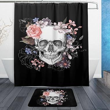 WOZO Beautiful Floral Sugar Skull Black Polyester Fabric Bathroom Shower Curtain 60 x 72 inch with Hooks Modern Bathroom Doormat Rug 23.6 x 15.7 inch