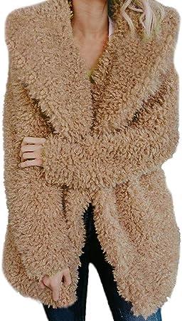 Ropa de Abrigo Lana Mujer Invierno,PAOLIAN Chaquetas de Cárdigans Largas Faux Fur Marrón otoño Señora Rebajas Chaquetón Acolchado Caliente Tallas Grandes Primavera Moda Fiesta