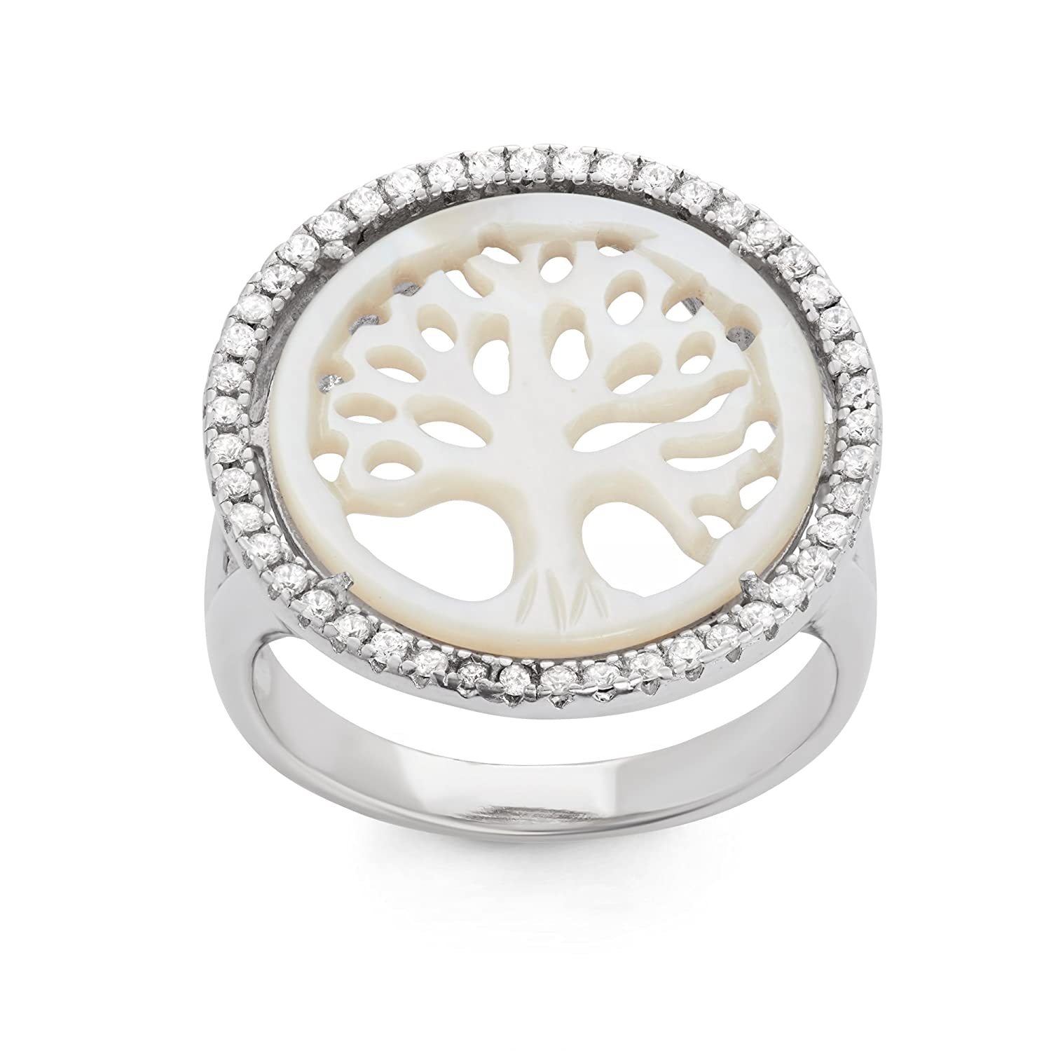 Sterling Silver CZ & Mother of Pearl Tree of Life Ring
