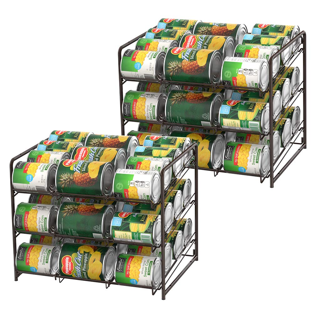 2 Set of Stackable Can Rack Organizer, 3-Tier Can Storage Dispenser for Beverage Can, Canned Foods, Jars, Perfect for Kitchen Cupboard, Pantry, Bronze by LIANTRAL