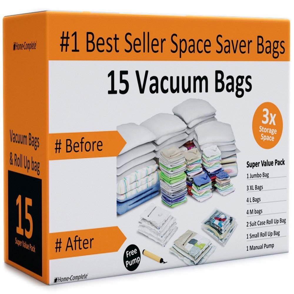 Home-Complete HC-2002 Vacuum Storage Bags- 15 Multi Size Space Saving Air Tight Compression Organizers for Closet Clutter, Clothes, Linens- Pump Included, Clear