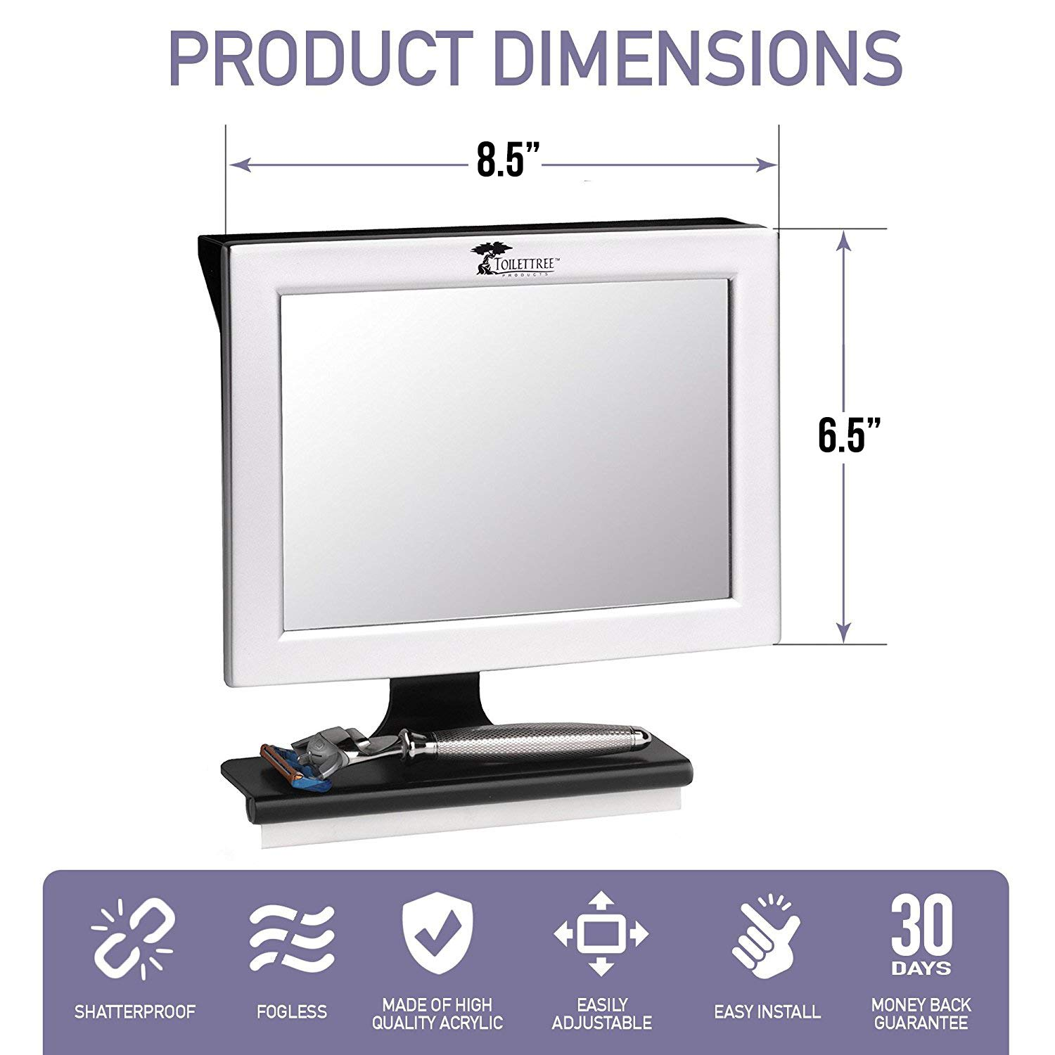 ToiletTree Products Fogless Shower Bathroom Mirror with Squeegee, Silver by ToiletTree Products (Image #2)