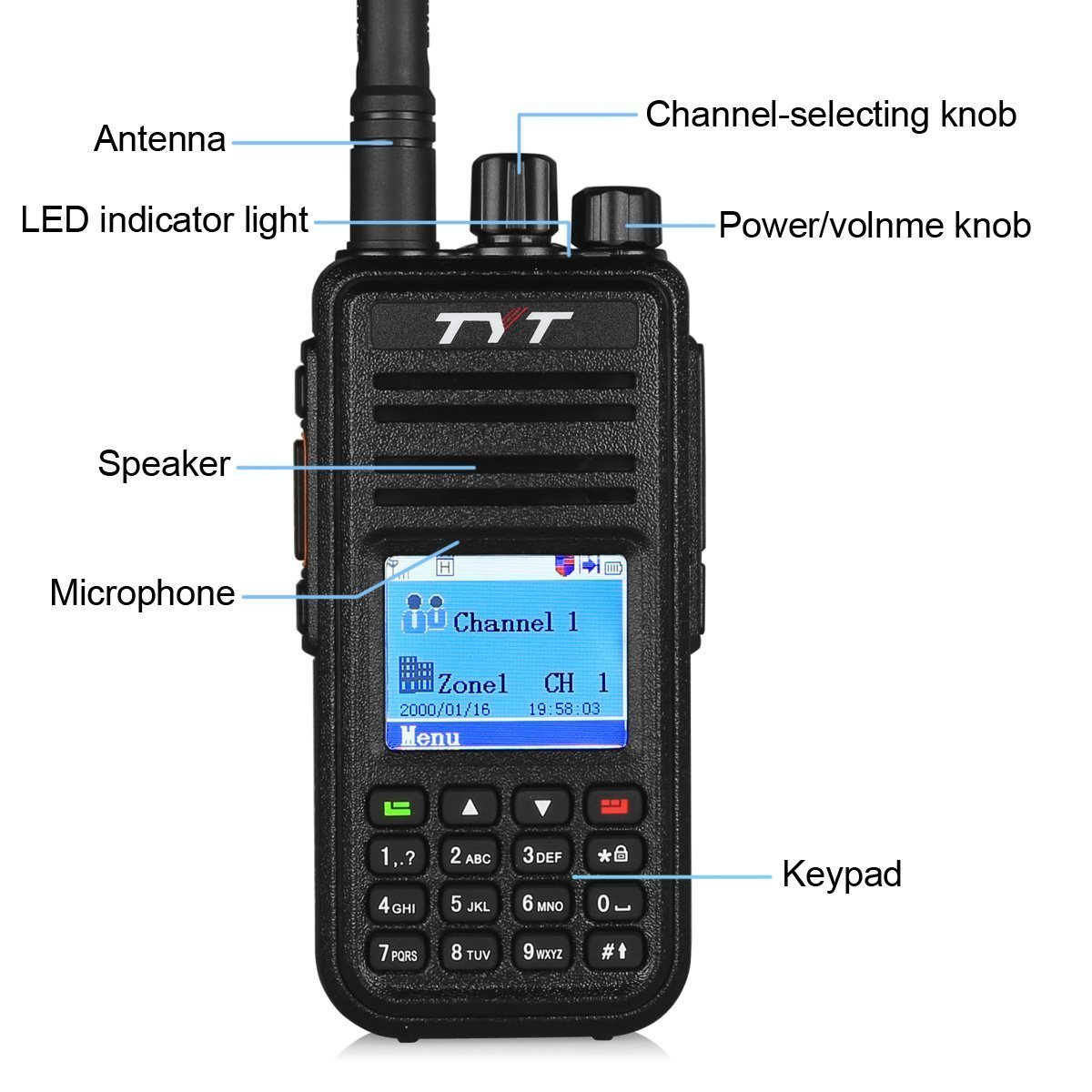 Programming Cable and 2 Antenna with Color LCD Display High Gain Antenna Included UHF 400-480Mhz Up to 1000 Channels TYT MD-380 Digital DMR Two Way Radio