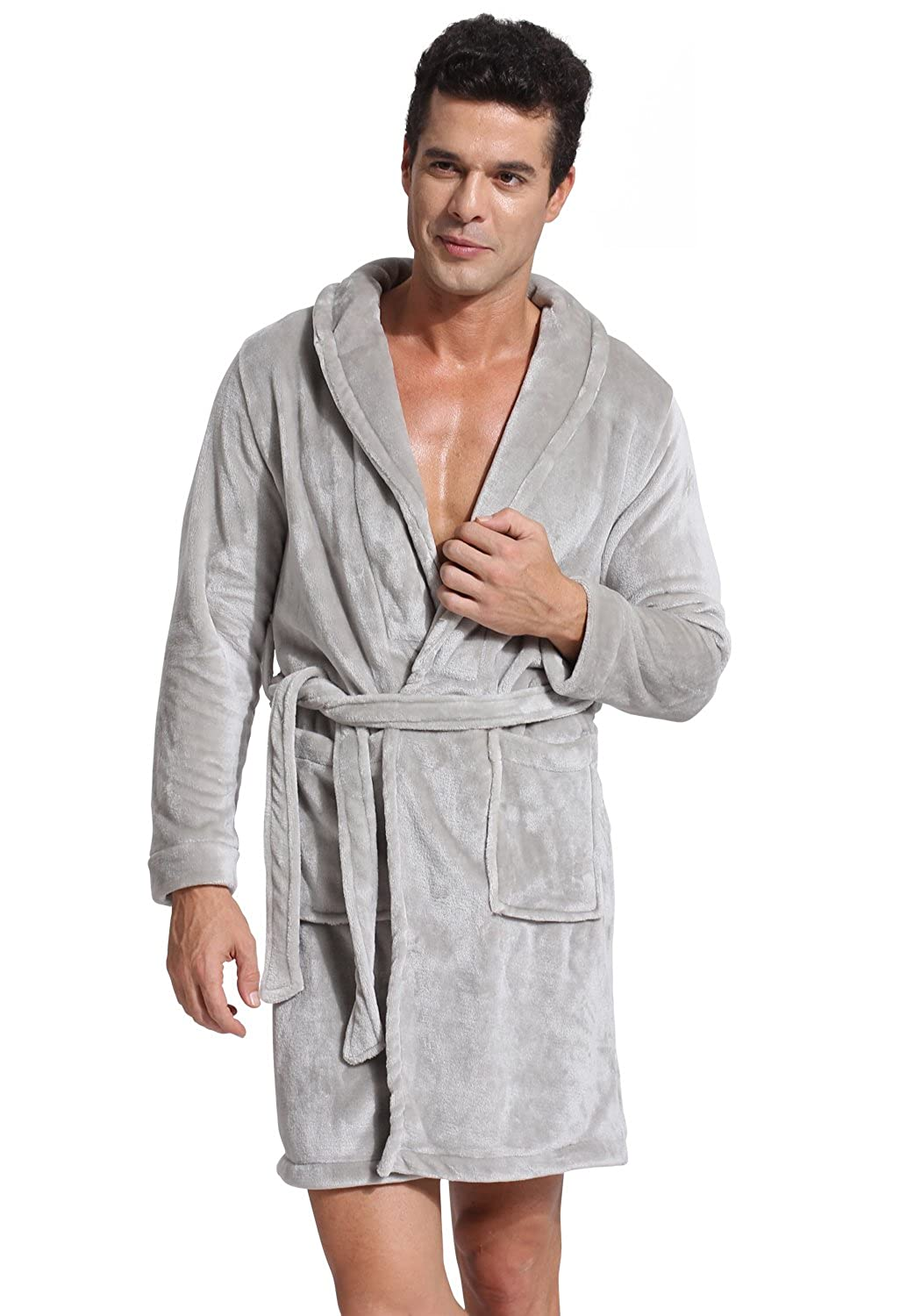 Godsen Men's Winter Fleece Bathrobes Sleepwear Robe 8Y2001