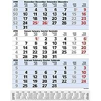 3-Monats-Planer Comfort Blau 2019: 3-Monatskalender groß I Wandplaner / Bürokalender mit Datumsschieber, Vor-und Nachmonat und Jahresübersicht I 30 x 39 cm