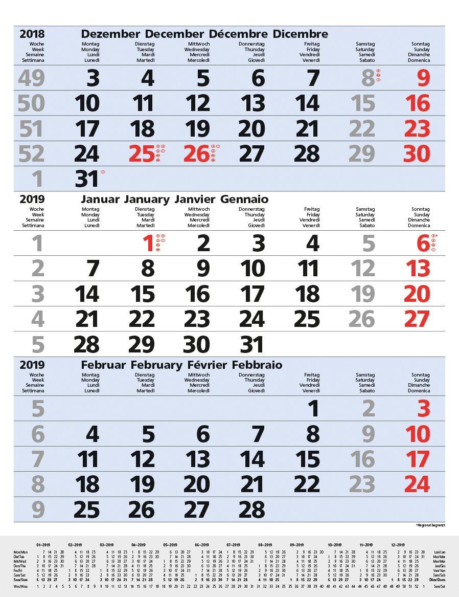 3-Monats-Planer Comfort Blau 2019: 3-Monatskalender groß I Wandplaner / Bürokalender mit Datumsschieber, Vor-und Nachmonat und Jahresübersicht I 30 x 39 cm Kalender – Terminkalender, 1. April 2018 Korsch Verlag 3731833352 Kalender / Zeitplansysteme Zeitpl
