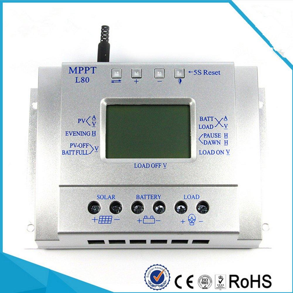 Controlador de energí a Solar de Alta conversió n, Descarga de Carga del Panel Solar fotovoltaico, Regulador Solar de la exhibició n del LCD del regulador de la Carga de 80A 12V 24V MPPT Lanlan